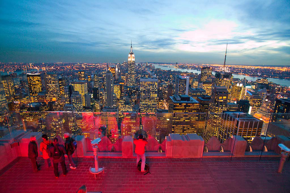 The evening view from the Top of the Rock, the observation deck at the top of Rockefeller Center, New York City, NY