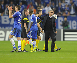 Chelsea Manager, Jose Mourinho congratulates his players  - Photo mandatory by-line: Joe Meredith/JMP - Tel: Mobile: 07966 386802 22/10/2013 - SPORT - FOOTBALL - Veltins-Arena - Gelsenkirchen - FC Schalke 04 v Chelsea - CHAMPIONS LEAGUE - GROUP E