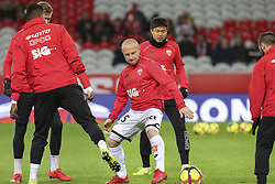 March 3, 2019 - Lille, France - Joueurs de Dijon FCO a l echauffement - Florent Balmont ( Dijon FCO ) - Chang Hoon Kwon  (Credit Image: © Panoramic via ZUMA Press)