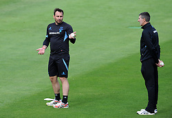 Sussex's Michael Yardy talks to Sussex's Director of Cricket Mark Robinson Photo mandatory by-line: Harry Trump/JMP - Mobile: 07966 386802 - 22/05/15 - SPORT - CRICKET - Natwest T20 Blast - Somerset v Sussex Sharks - The County Ground, Taunton, England.