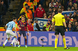 MANCHESTER, ENGLAND - Tuesday, February 18, 2014: A FC Barcelona supporter waves an Israel flag during the UEFA Champions League Round of 16 match against Manchester City at the City of Manchester Stadium. (Pic by David Rawcliffe/Propaganda)