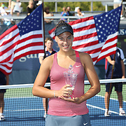 Ana Konjuh, Croatia, with her winners trophy after defeating Tornado Alicia Black, USA, during the Junior Girls' Singles Final at the US Open. Flushing. New York, USA. 8th September 2013. Photo Tim Clayton