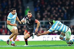 November 11, 2017 - London, United Kingdom - England's Alex Lozowski breaks from Argentina's Matias Alemanno during Old Mutual Wealth Series between England against Argentina at Twickenham stadium , London on 11 Nov 2017  (Credit Image: © Kieran Galvin/NurPhoto via ZUMA Press)