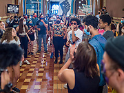 15 JUNE 2020 - DES MOINES, IOWA: Black Lives Matter protesters in the hallway in front of the Governor's Reception Room in the Iowa capitol in Des Moines. About 75 supporters of Black Lives Matter marched through the Iowa capitol Monday to demand the restoration of voting rights for felons who have completed their sentences. Iowa is one of only two states in the US that permanently strip felons of voting rights. The issue is a  racial one in Iowa. Blacks make up only 4 percent of the population but 25 percent of the prison population. The Governor agreed to meet with a delegation of the protesters but she would not commit to immediately restoring voting rights. She said would draft an executive order to restore voting rights later in the summer.    PHOTO BY JACK KURTZ