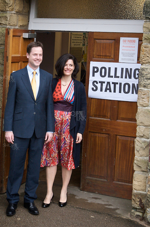 Liberal Democrat leader Nick Clegg accompanied by his wife Miriam Gonzalez Durantez living polling station, May 6, 2010 at Bents Green Methodist Church, Sheffield