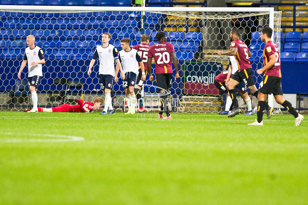 Bradford City celebrates Bradford City defender Paudie O'Connor goal to make it 1-1 during the EFL Trophy match between Bolton Wanderers and Bradford City at the University of  Bolton Stadium, Bolton, England on 3 September 2019.