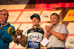 Tayler Wiles (USA) of UnitedHealthcare Cycling Team celebrates retaining the climber's jersey after Stage 2 of the Lotto Thuringen Ladies Tour - a 102.9 km road race, starting and finishing in Dortendorf on July 14, 2017, in Thuringen, Germany. (Photo by Balint Hamvas/Velofocus.com)