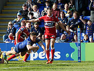 Tom Lineham of Warrington Wolves dives in to score the try against Hull Kingston Rovers during the Betfred Super League match at the Halliwell Jones Stadium, Warrington<br /> Picture by Stephen Gaunt/Focus Images Ltd +447904 833202<br /> 14/04/2018