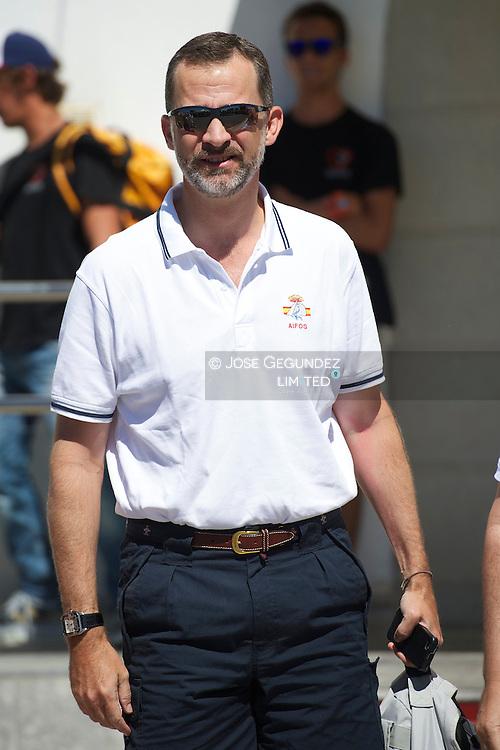 Prince Felipe of Spain participate on the 32th Copa del Rey Mapfre Sailing Cup in Palma de Mallorca, Spain.