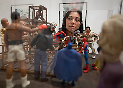 © Licensed to London News Pictures. 21/11/2012. London, UK. A member of Waddington Custot gallery staff views Peter Blake's 'The Performance Artist (from Incidents from a Sculpture Park)' (1983) at an exhibition in London today (21/11/12). Held at the Waddington Custot Galleries on Cork Street, London, the exhibition, entitled 'Rock, Paper, Scissors', represents the first major retrospective devoted to Blake's work since 2007 and runs from 21November to 15 December 2012 . Photo credit: Matt Cetti-Roberts/LNP