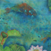 Watercolor and semi-ink on mulberry paper, 14.5 x 43.5&quot;<br />