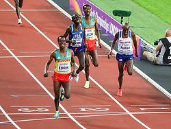 London, August 12 2017 . Muktar Edris, Ethiopia, wins ahead of Mo Farah, Great Britain, and Paul Kipkemoi Chelimo, USA, in the men's 5000m final on day nine of the IAAF London 2017 world Championships at the London Stadium. © Paul Davey.
