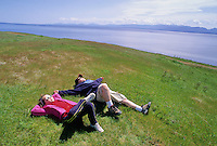 Kids, 10, 7, relax at the Bluffs, Hornby Island, BC