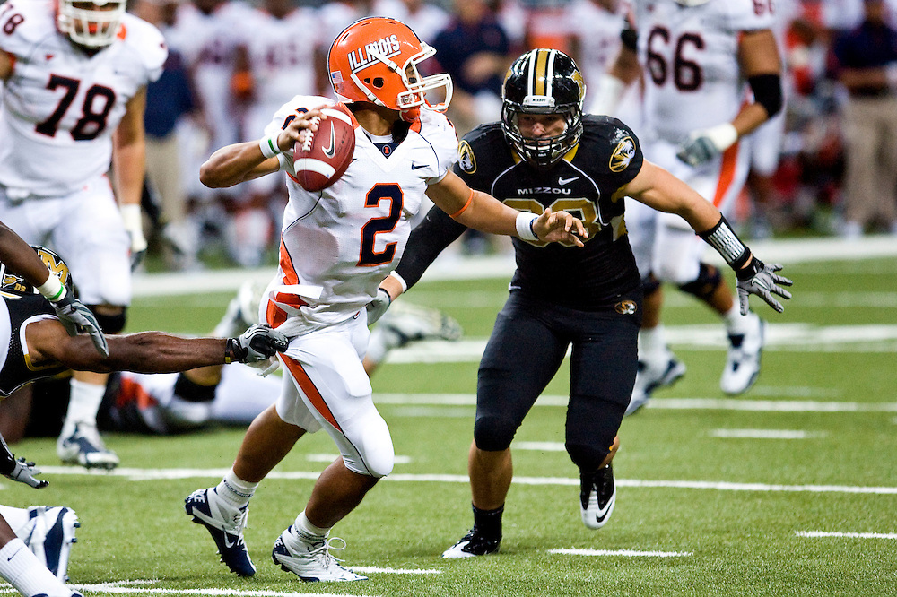 Illinois Fighting Illini quarterback Nathan Scheelhaase (2) is tackled by Missouri Tigers linebacker Luke Lambert (33) during the second half of the Arch Rivalry NCAA football game between the Mizzou Tigers and Fighting Illini at the Edward Jones Dome in St. Louis, Mo., Saturday, September 4, 2010. Missouri defeated Illinois 23-13 (Credit Image: © Patrick T. Fallon/Cal Sport Media)