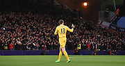 Wayne hennessey gives a thumbs up after Palace's opener during the Barclays Premier League match between Crystal Palace and Southampton at Selhurst Park, London, England on 12 December 2015. Photo by Michael Hulf.