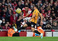Football - 2019 / 2020 Premier League - Arsenal vs. Wolverhampton Wanderers<br /> <br /> Pierre-Emerick Aubameyang (Arsenal FC) whips over the cross at The Emirates Stadium.<br /> <br /> COLORSPORT/DANIEL BEARHAM