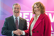 © Licensed to London News Pictures. 24/03/2015. Folkstone, UK. Leader of UKIP Nigel Farage (L)  announces  Harriet Yeo (R) has been named as Ukip's new Folkestone and Hythe general election candidate following the expulsion of Janice Atkinson over allegations of an inflated expenses claim.. Photo credit : Stephen Simpson/LNP