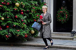 © Licensed to London News Pictures. 04/12/2018. LONDON, UK. Andrea Leadsom MP, Leader of the House of Commons, Lord President of the Council, leaves the weekly Cabinet Meeting at Number 10 Downing Street in London, Britain, on December 4, 2018.  John Bercow, Speaker of the House, has stated that the government may be in contempt of Parliament for declining to release its full legal advice on Britain's exit from the European Union.  This issue is to be debated in the House of Commons after the Cabinet Meeting and will delay the start of MP's debating Theresa May's Brexit agreement with the European Union, ahead of their vote on December 11.  Photo credit: Stephen Chung/LNP