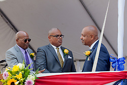 (L-R) Senators Myron D. Jackson, Brian A. Smith, and Tregenza A. Roach congratulate each other after taking the Oath of Office.  St. Thomas Swearing-In Ceremony for the 32nd Legislature of the US Virgin Islands.  Emancipation Garden.  St. Thomas, VI.  9 January 2017.  © Aisha-Zakiya Boyd