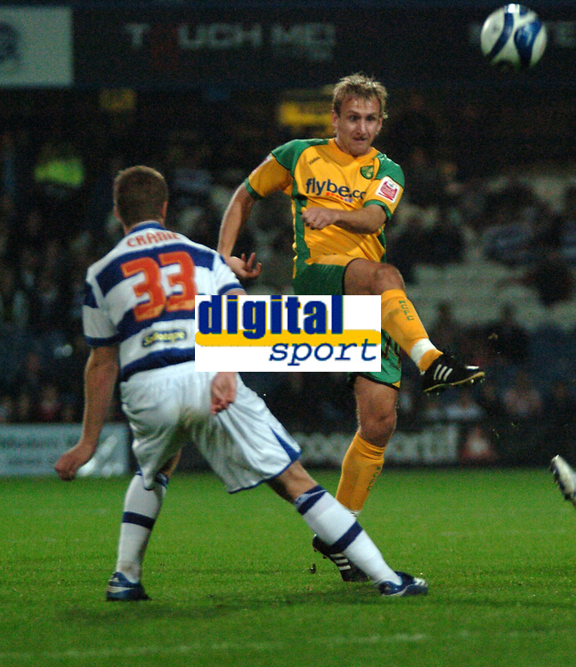 Photo: Tony Oudot.<br /> Queens Park Rangers v Norwich City. Coca Cola Championship. 08/10/2007.<br /> Chris Brown of Norwich City fires in a shot past Martin Cranie of Queens Park Rangers