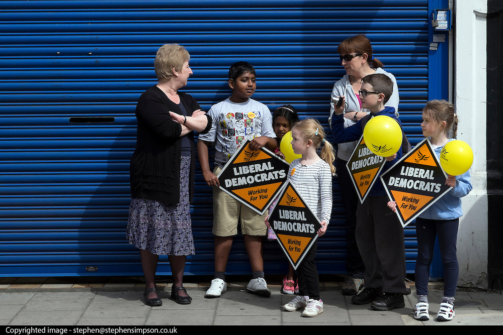 © Licensed to London News Pictures. 04/05/2015. South West London, UK. Supporters wait at Liberal Democrat Kingston HQ.  Nick Clegg, Deputy Prime Minister and Leader of the Liberal Democrats campaigns in the UK General Election in South West London today 4th May 2015. Photo credit : Stephen Simpson/LNP