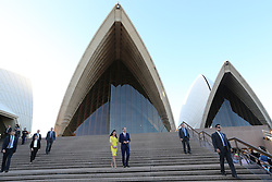 The Duke and Duchess of Cambridge leaving the Sydney Opera House after attending a reception following their arrival in Australia on the second leg of their Royal Tour,  Wednesday, 16th April 2014. Picture by Stephen Lock / i-Images