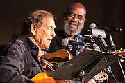 "Oscar Brand, considered a founding father of the American folk music revival, takes the stage with Josh White, Jr. Brand is now 93, and still hosts the radio show ""Folksong Festival."""