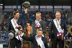 Gold medal, Team Netherlands, Chardon IJsbrand, De Ronde Koos, Timmerman Theo, De Ruyter Harrie<br /> Marathon Driving Competition<br /> FEI European Championships - Aachen 2015<br /> © Hippo Foto - Dirk Caremans<br /> 22/08/15