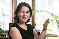 02 JUL 2019, BERLIN/GERMANY:<br /> Annalena Baerbock, MdB, B90/Gruene, Parteivorsitzende, waehrend einem Interview, in ihrem Buero, Jakob-Kaiser-Haus, Deutscher Bundestag<br /> IMAGE: 20190702-01-021