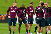 England midfielder James Milner amused during the England Training Session at St George's Park National Football Centre, Burton-Upon-Trent, United Kingdom on 7 October 2015. Photo by Aaron Lupton.
