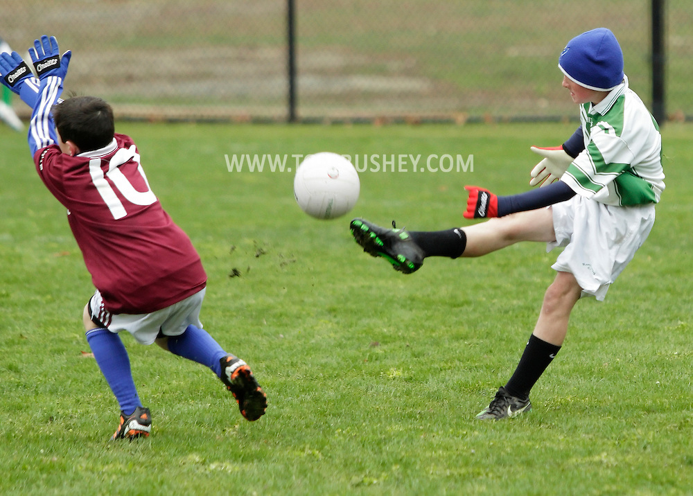 Monroe, New York - St. Brendan's Gaelic Football Club plays Rockland Gaelic Athletic Association in a 12-and-under game on March 31, 2012.