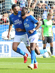 Mohamed Eisa of Peterborough United celebrates scoring his first goal of the game to make it 2-0 with team-mate George Boyd - Mandatory by-line: Joe Dent/JMP - 28/09/2019 - FOOTBALL - Weston Homes Stadium - Peterborough, England - Peterborough United v AFC Wimbledon - Sky Bet League One
