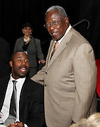 ATLANTA, GA - MAY 14:  Atlanta Braves outfielder Jason Heyward (left) meets with Hall of Famer Hank Aaron at the MLB Beacon Awards Banquet at the Omni Hotel on May 14, 2011 in Atlanta, Georgia.  (Photo by Mike Zarrilli/Getty Images)