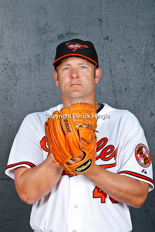 February 26, 2011; Sarasota, FL, USA; Baltimore Orioles pitcher Ryan Drese (45) poses during photo day at Ed Smith Stadium.  Mandatory Credit: Derick E. Hingle