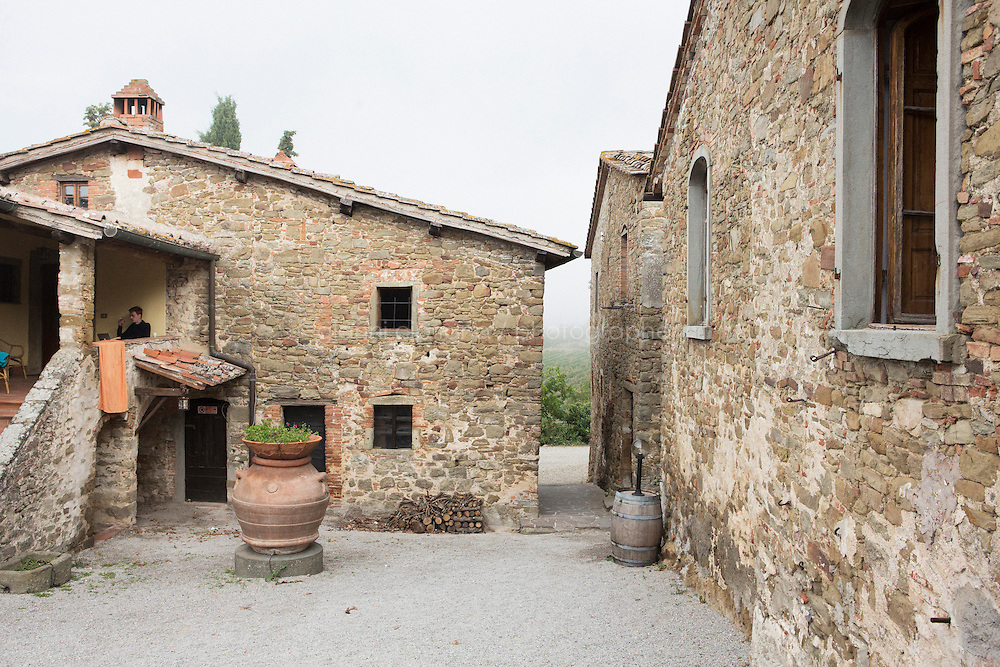 Castelvecchi (Radda in Chianti), Italy - 10 September 2014: The Agriturismo Borgo Castelvecchi, a medieval village transformed in a farm stay (agriturismo), in Castelvecchi (Radda in Chianti), Italy, on September 10th 2014.