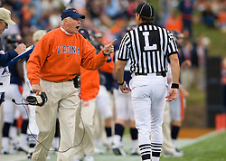 "Virginia head coach Al Groh argues with the officials over a penalty flag for pass interference against UNC that was waved off in the first half.  The Virginia Cavaliers defeated the #18 ranked North Carolina Tar Heels 16-13 in overtime in NCAA football at Scott Stadium on the Grounds of the University of Virginia in Charlottesville, VA on October 18, 2008.  The 113th meeting of the two teams, dubbed the ""Oldest Rivalry in the South"", saw UVA continue its streak of consecutive home victories over UNC -- the last time the Tar Heels won in Charlottesville was 1981."