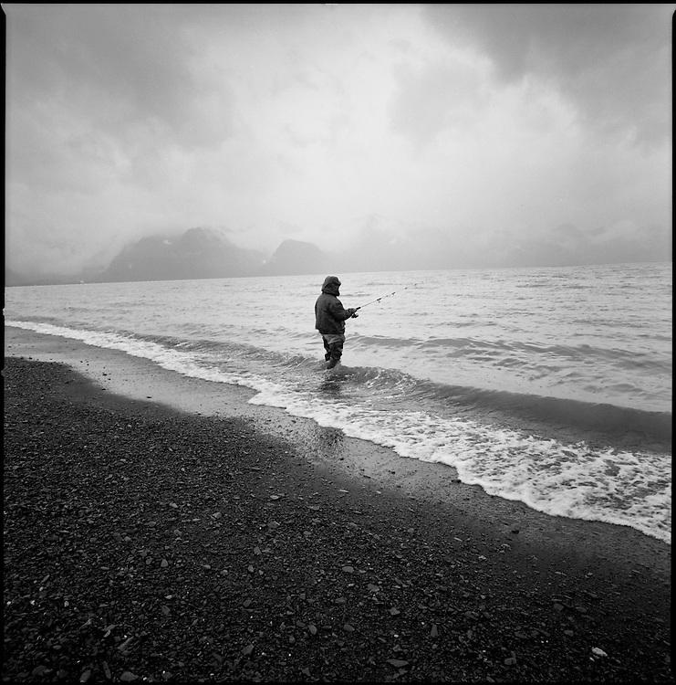 Silver salmon fishing in Seward, Alaska. 2006