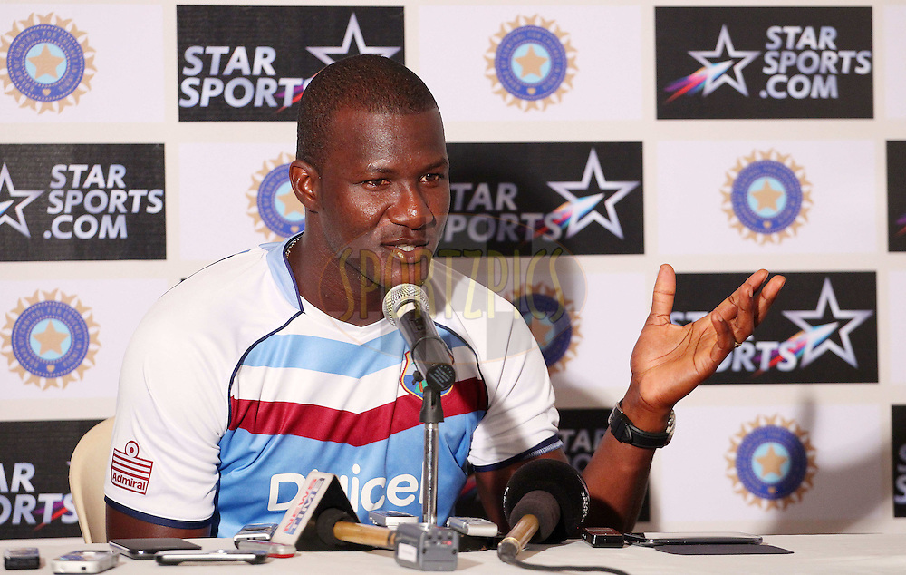 Darren Sammy captain of West Indies addresses the media during the West Indies press conference held at the Wankhede Stadium in Mumbai, India on the 13th November 2013<br /> <br /> Photo by: Ron Gaunt - BCCI - SPORTZPICS