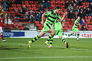 Forest Green Rovers Darren Carter(12) cerebrates, 2-1 during the Vanarama National League match between Wrexham FC and Forest Green Rovers at the Racecourse Ground, Wrexham, United Kingdom on 26 November 2016. Photo by Shane Healey.