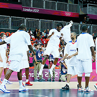 06 August 2012: France Yannick Bokolo is seen with his teammates prior to the 79-73 Team France victory over Team Nigeria, during the men's basketball preliminary, at the Basketball Arena, in London, Great Britain.