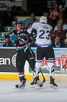 KELOWNA, CANADA - OCTOBER 26: Carter Folk #23 of the Victoria Royals checks Calvin Thurkauf #27 of the Kelowna Rockets during first period on October 26, 2016 at Prospera Place in Kelowna, British Columbia, Canada.  (Photo by Marissa Baecker/Shoot the Breeze)  *** Local Caption ***