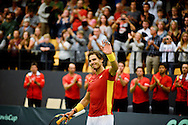 18.09.2015. Odense, Denmark. <br /> Rafael Nadal of Spain celebrates his Davis Cup match win against Mikael  Torpegaard of Denmark.<br /> Photo: © Ricardo Ramirez.