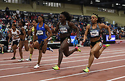 Mar 5, 2017; Albuquerque, NM, USA; Morolake Akinosun defeats Dezerea Bryant to win the women's 60m, 7.08 to 7.11, during the USA Indoor Championships at the Albuquerque Convention Center.
