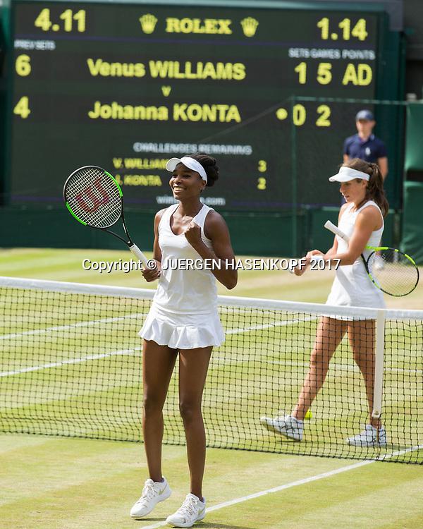 VENUS WILLIAMS (USA) jubelt nach ihrem Sieg, Jubel,Freude,Emotion,JOHANNA KONTA (GBR) <br /> <br /> Tennis - Wimbledon 2017 - Grand Slam ITF / ATP / WTA -  AELTC - London -  - Great Britain  - 13 July 2017.