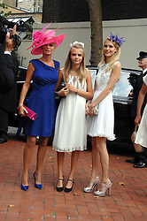 Left to right, mother of the bride PANDORA DELEVINGNE with her dauhters CARA DELEVINGNE and POPPY DELEVINGNE at the wedding of Chloe Delevingne to Louis Buckworth at St.Paul's Knightsbridge, London on 7th September 2007.<br />