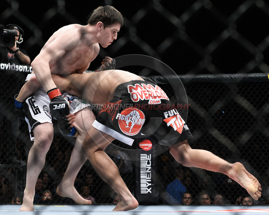 "DUBLIN, IRELAND, JANUARY 17, 2009: Tom Egan (left) and John Hathaway during ""UFC 93: Franklin vs. Henderson"" inside the O2 Arena in Dublin, Ireland"