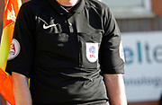 EFL branding worn by Referee's Assistant Mark Dwyer  during the EFL Sky Bet League 1 match between Rochdale and Charlton Athletic at Spotland, Rochdale, England on 5 May 2018. Picture by Paul Thompson.