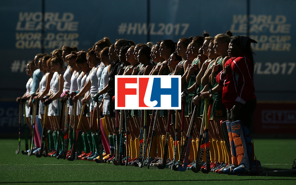 JOHANNESBURG, SOUTH AFRICA - JULY 20:  Teams line up for the national anthems ahead of the 5th/ 8th place play-off match between South Africa and Ireland at Wits University on July 20, 2017 in Johannesburg, South Africa.  (Photo by Jan Kruger/Getty Images for FIH)