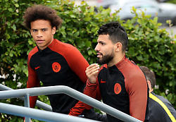 Sergio Aguero of Manchester City walks out to train with Leroy Sane - Mandatory by-line: Matt McNulty/JMP - 12/09/2016 - FOOTBALL - Manchester City - Training session ahead of Champions League Group C match against Borussia Monchengladbach