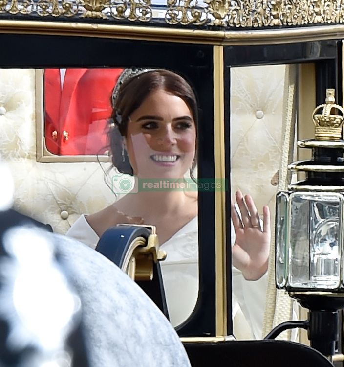 The royal carriage makes its way out of windsor castle for the marriage of Princess Eugenie & Jack Brooksbank. 12 Oct 2018 Pictured: Princess Eugenie , Jack Brooksbank. Photo credit: Neil Warner/MEGA TheMegaAgency.com +1 888 505 6342